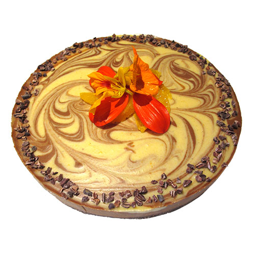 Raw Orange Cacao Swirl Cake